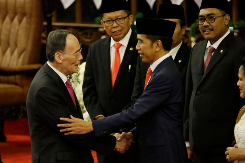 Chinese Vice-President Wang Qishan during the inauguration ceremony for Indonesian President Joko Widodo's second term.