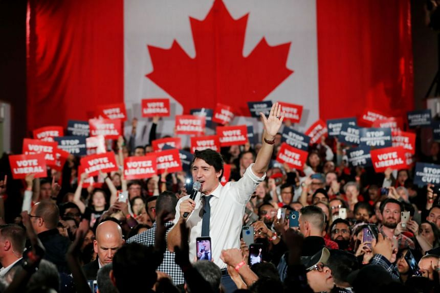 Canadian Prime Minister Justin Trudeau at campaign rally in Ontario, Canada, on Oct 19, 2019.