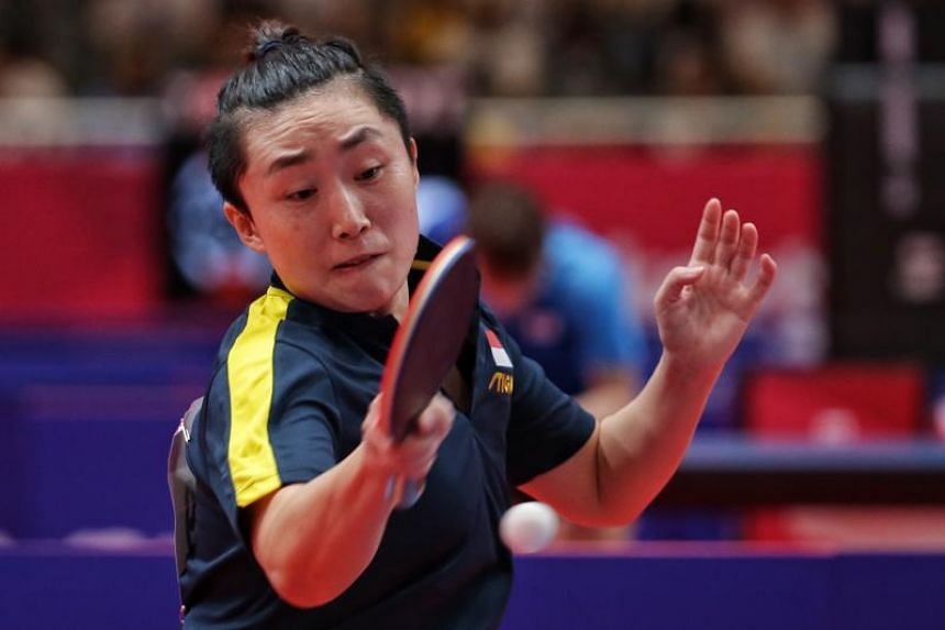 A photo taken on Aug 30, 2018, shows Singapore's Feng Tianwei in action against Pakistan's Aisha Iqbal Ansari (not pictured) in table tennis women's singles round of 32 at the 18th Asian Games in Jakarta.