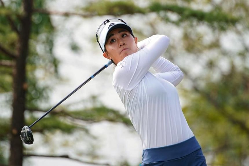 Danielle Kang plays a shot during the third round of the Shanghai LPGA golf tournament in Shanghai on Oct 19, 2019.