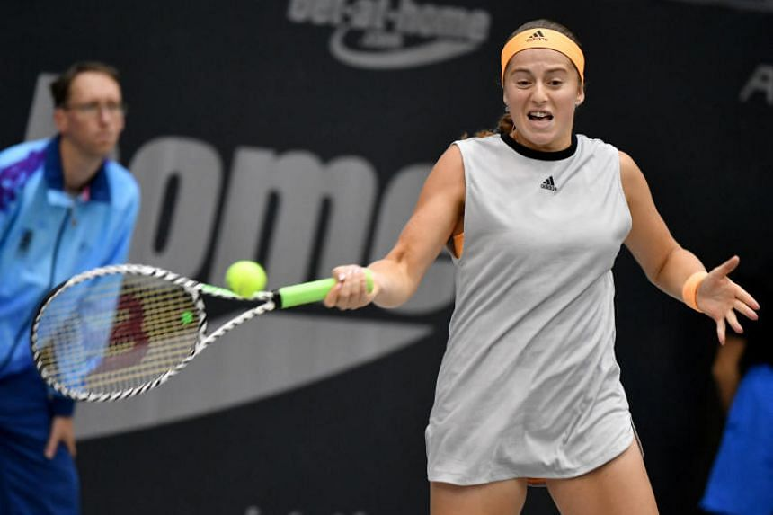 A photo taken on Oct 13 shows Jelena Ostapenko in action during the Linz Open women's final match against Cori Gauff.