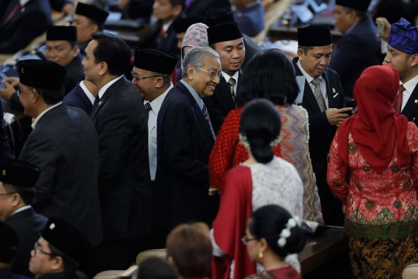 Malaysian Prime Minister Mahathir Mohamad during the inauguration ceremony for Indonesian President Joko Widodo's second term.