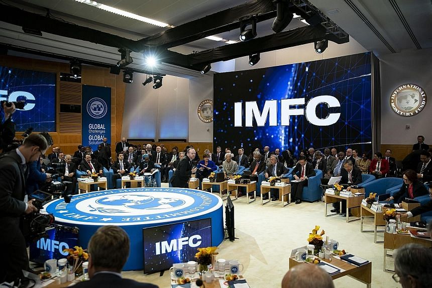 An International Monetary Fund Committee plenary session beginning at the annual meetings of the IMF and World Bank Group in Washington last Friday. Central bank governors and finance ministers traded grim tales of suffering economies, with some noti