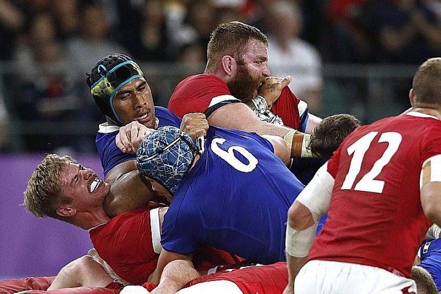 Lock Sebastien Vahaamahina, scorer of the first try, turns villain in elbowing Wales' Aaron Wainwright to earn a straight red card, with France leading 19-10 in the final 30 minutes. The Welsh eventually won 20-19.