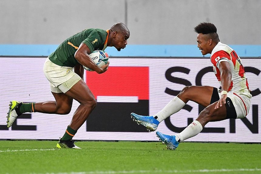 Makazole Mapimpi is too fast and powerful for Japan's Kotaro Matsushima to stop. The South African winger scored two tries as the two-time champions beat the hosts in yesterday's quarter-final in Tokyo.