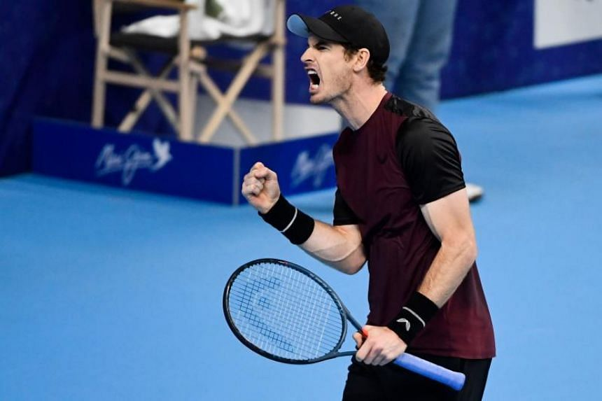 Britain's Andy Murray reacts as he plays against Switzerland's Stanislas Wawrinka during their men's single tennis final match of the European Open ATP Antwerp, on Oct 20, 2019.