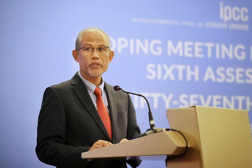 Minister for the Environment and Water Resources Masagos Zulkifli speaking at the IPCC scoping meeting for the Synthesis Report for the Sixth Assessment Report at Resorts World Convention Centre on Oct 21, 2019.