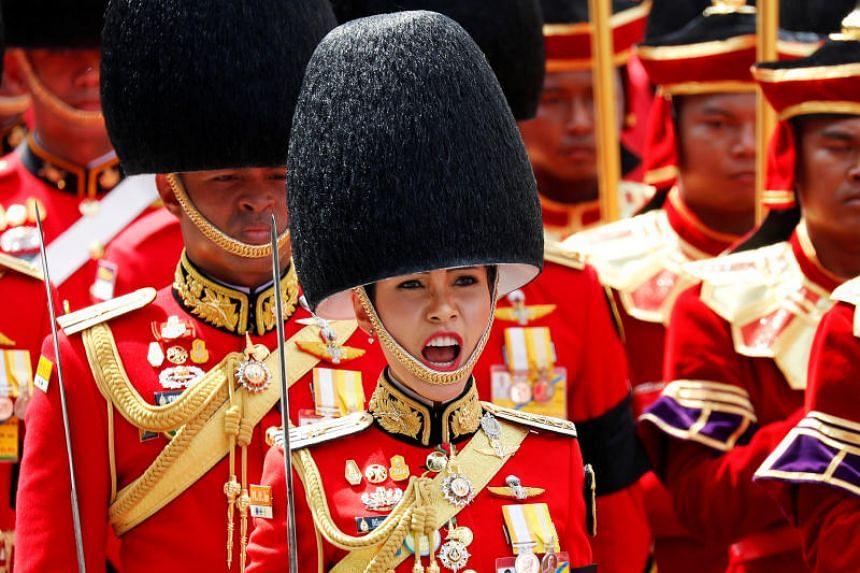 A photo taken on Oct 26, 2017, shows Major-General Sineenat Wongvajirapakdi taking part in the Royal Cremation ceremony of Thailand's late King Bhumibol Adulyadej near the Grand Palace in Bangkok.