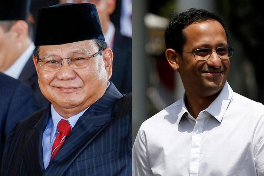 Indonesian opposition leader Prabowo Subianto (left) and Gojek co-founder Nadiem Makarim (right) will be joining Indonesian President Joko Widodo's new Cabinet.