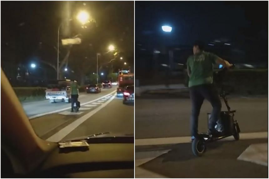 In the seven-second video, the PMD rider is seen on a chevron road marking on the expressway checking for traffic, before riding across the road towards the Kallang Park Connector.