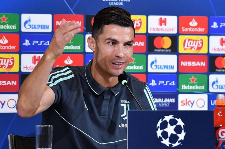 Cristiano Ronaldo speaks during the press conference on the eve of the UEFA Champions League match against Lokomotiv Mosca at Allianz stadium in Turin, Italy, on Oct 21, 2019.