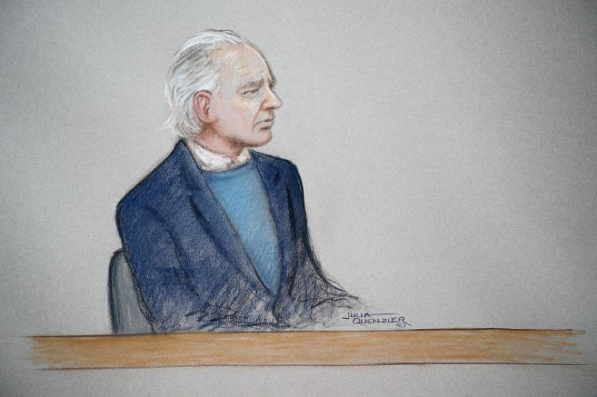 WikiLeaks founder Julian Assange in a courtroom sketch during a case management hearing at Westminster Magistrates Court in London on Oct 21, 2019.