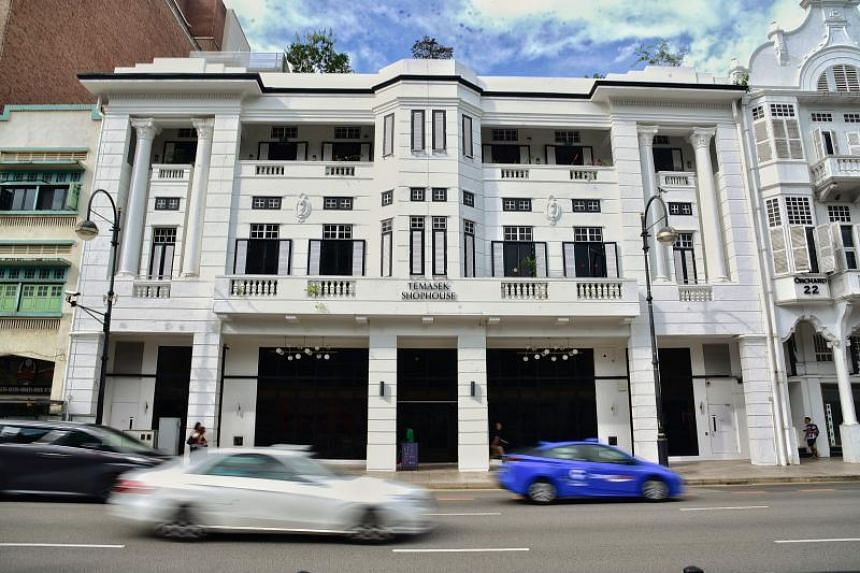 The exterior of the Temasek Shophouse along Orchard Road, which was the sole winner of the Urban Redevelopment Authority's award for restoration.