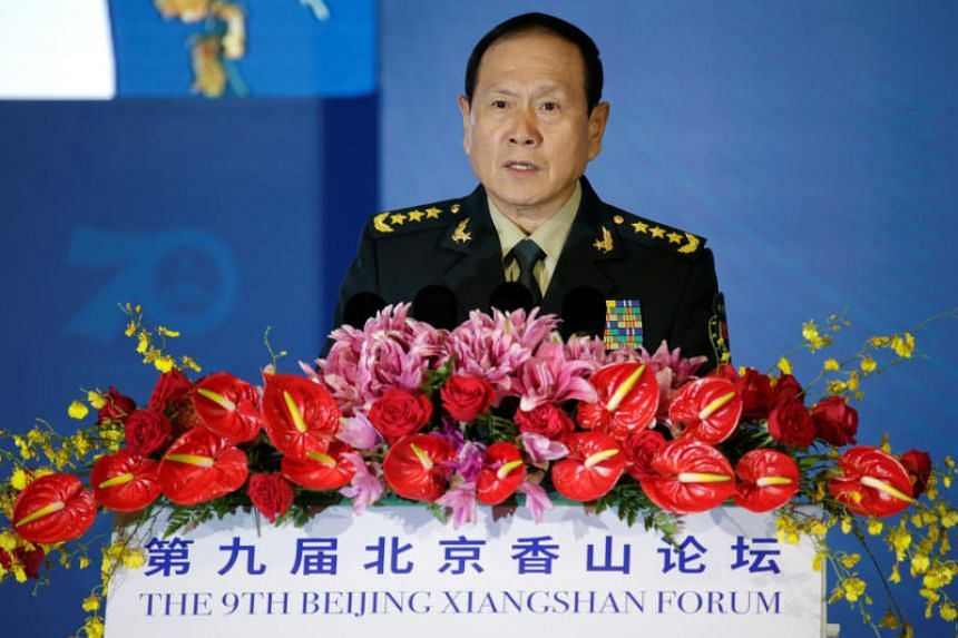 China's Defence Minister Wei Fenghe delivers a speech at the Xiangshan Forum in Beijing, China, on Oct 21, 2019.
