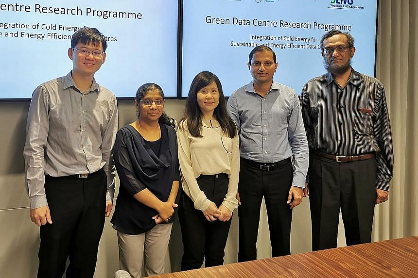 The team developing more efficient cooling technology comprises (from left) Keppel Data Centres senior engineer Tee Jackson; IncubateKeppel manager Sreekala Kumar; Singapore LNG senior development engineer Ho Wai Ying; and Associate Professor Praveen