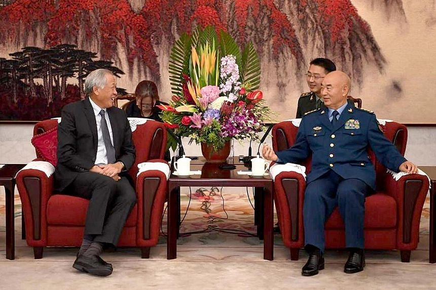 Singapore's Defence Minister Ng Eng Hen met General Xu Qiliang, vice-chairman of the Central Military Commission, yesterday morning, and the two discussed global security issues and the regional architecture. Both men reaffirmed the longstanding ties