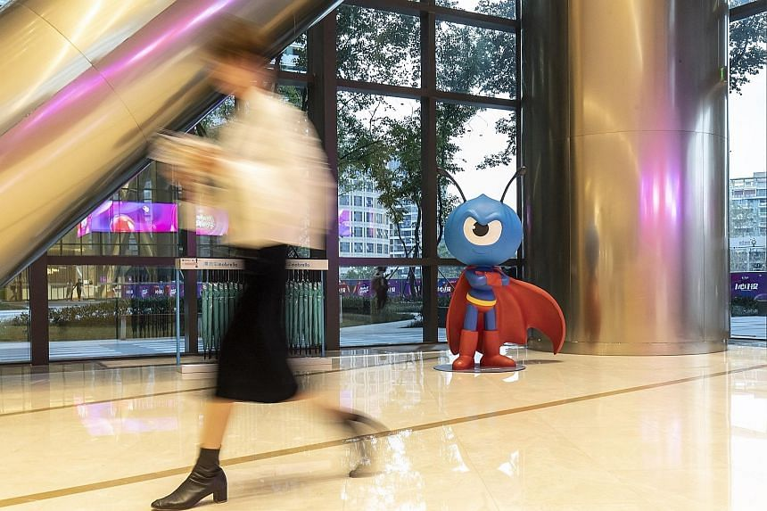 The mascot for Ant Financial, an affiliate of Chinese e-commerce giant Alibaba, at its headquarters in Hangzhou. A number of firms on Hurun Report's inaugural list of unicorns were formerly units of larger companies that had been split off. One of th
