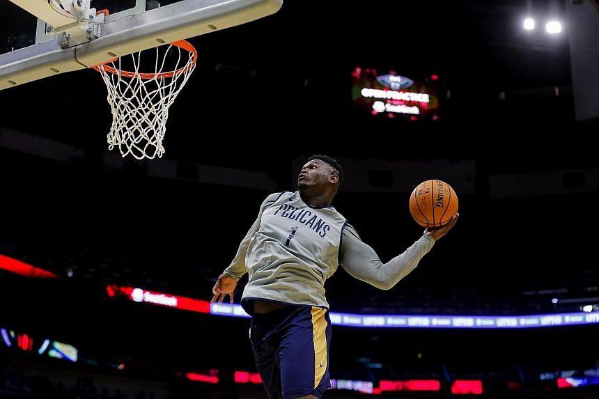 Analysts have urged New Orleans Pelicans' touted rookie Zion Williamson to trim down his 2.01m, 129kg frame to avoid serious injuries. PHOTO: REUTERS