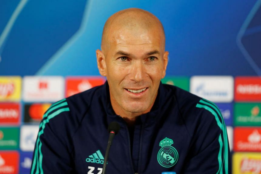 Real Madrid coach Zinedine Zidane speaks during a press conference at the Turk Telekom Stadium in Istanbul, Turkey on Oct 21, 2019.