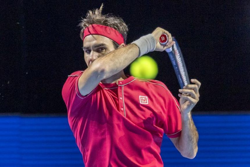 Switzerland's Roger Federer in action during his first round match against Germany's Peter Gojowczyk at the Swiss Indoors tennis tournament in Basel, Switzerland, on Oct 21, 2019.