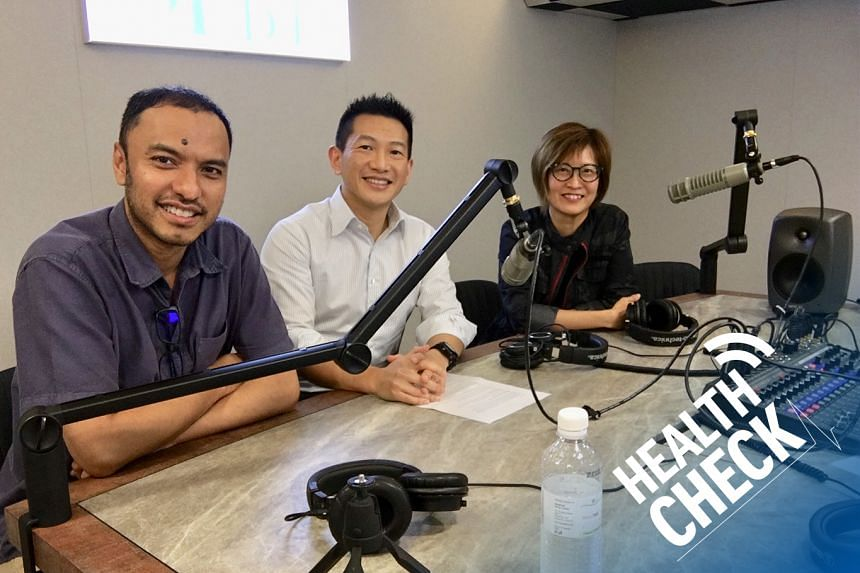 Urologist Dr Tan Yung Khan (centre) from UroHealth Medical Clinic debunks misconceptions about kidney stones with podcast head Ernest Luis (left) and ST correspondent Joyce Teo (right) on this episode of Health Check.