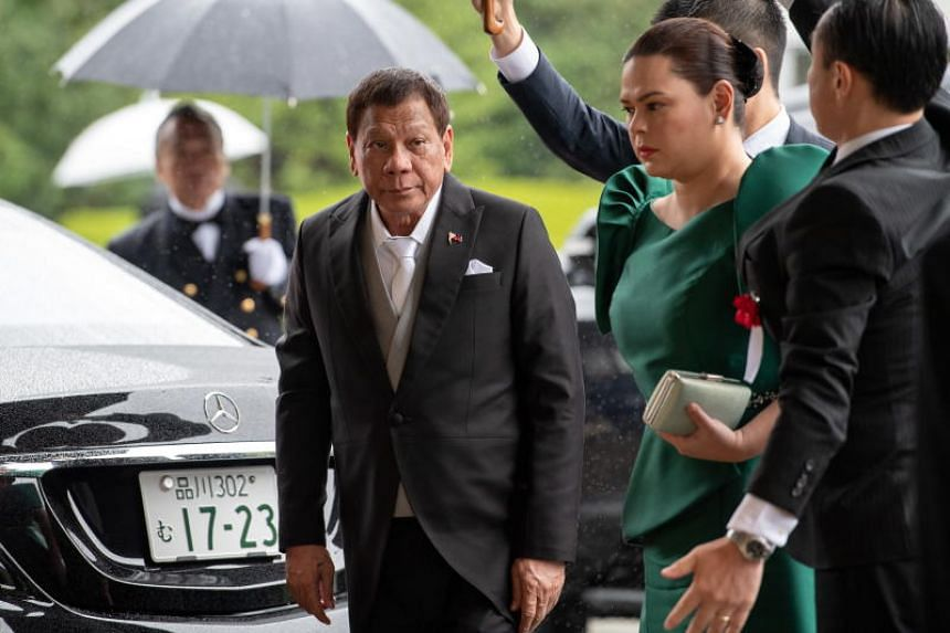 Philippine President Rodrigo Duterte arrives at the Imperial Palace in Tokyo to attend the enthronement ceremony of Japan's Emperor Naruhito on Oct 22, 2019.