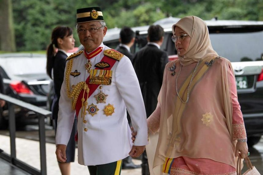Malaysia's King, Sultan Abdullah Sultan Ahmad Shah, and Queen, Tunku Azizah Aminah Maimunah, arrive at the Imperial Palace in Tokyo to attend the enthronement ceremony of Japan's Emperor Naruhito on Oct 22, 2019.