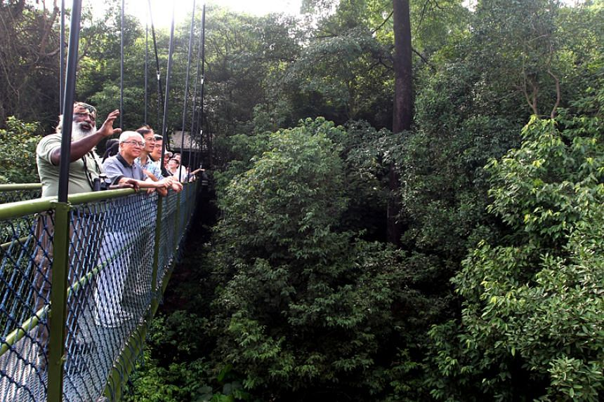 Mr Subaraj Rajathurai with then-president Tony Tan at the TreeTop Walk at MacRitchie Reservoir on Oct 19, 2011.