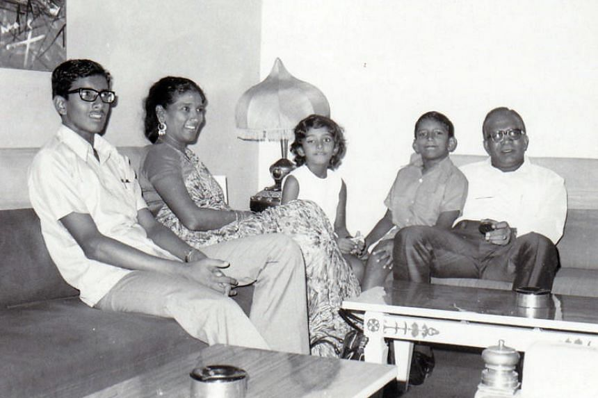 Subaraj Rajathurai (second from right) in the early 1970s, with (from right) father R. Rajathurai, younger sister Shamira, mother R. Manoanmany and elder brother Manoraj.