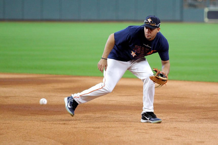 Houston Astros first baseman Yuli Gurriel works out one day before the 2019 World Series at Minute Maid Park.