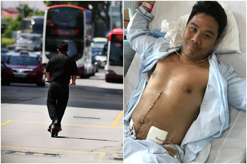 (Left) A man riding an electric scooter against traffic in Bugis, on May 23, 2019. Mr Davy Yiu (right) got into an accident while riding a PMD in November 2017 and crushed his spleen.