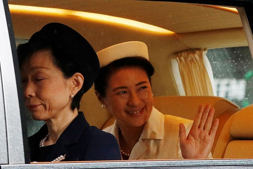 Japan's Empress Masako arrives at the Imperial Palace on the day Emperor Naruhito is formally enthroned in Tokyo, Japan on Oct 22, 2019.