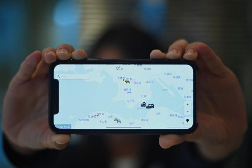 A photo illustration showing a smartphone displaying the HKmap app in Hong Kong, on Oct 10, 2019.