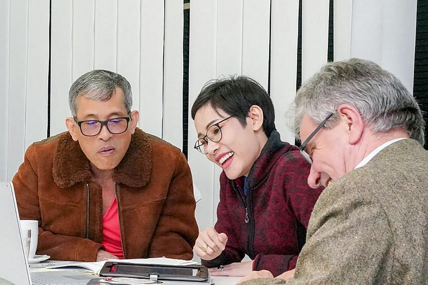 Thailand's King Maha Vajiralongkorn (left) at a meeting with former royal noble consort Sineenat Bilaskalayani in a photo released on Aug 26, 2019.