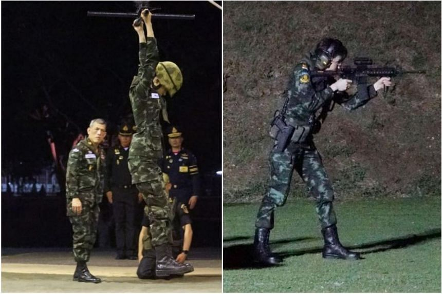 Former royal noble consort Sineenat Wongvajirapakdi taking part in military training in photos released on Aug 26, 2019.