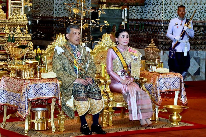 Thai King Maha Vajiralongkorn and Queen Suthida are pictured during the former's coronation ceremony at the Grand Palace, on May 29, 2019.