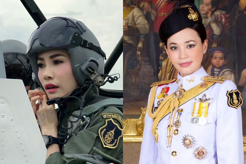 Left: Ms Sineenat Wongvajirapakdi trained as a pilot, and served in the King's royal bodyguard unit. Right: Queen Suthida is the King's fourth wife.