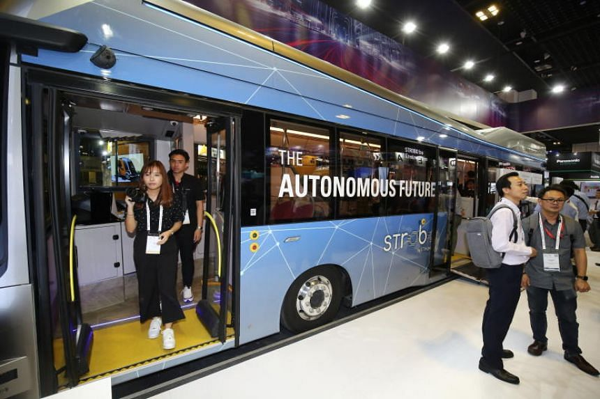 The Strobo Series 12 bus can carry up to 80 passengers. It has been undergoing trials without passengers on Jurong Island since June.