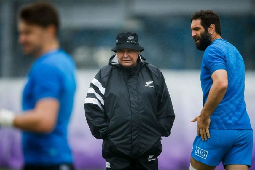 New Zealand's head coach Steve Hansen leads a training session at the Tatsuminomori Seaside Park in Tokyo on Oct 22, 2019.