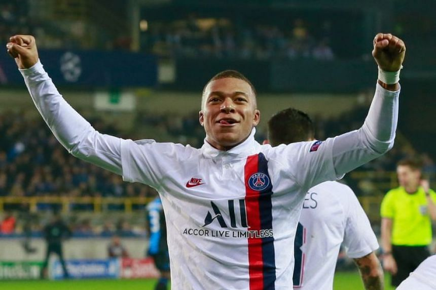 Mbappe reacts after scoring the 5-0 lead.