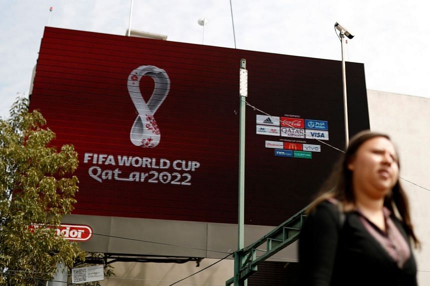 The logo for the 2022 Qatar Fifa World Cup is pictured in Mexico City.