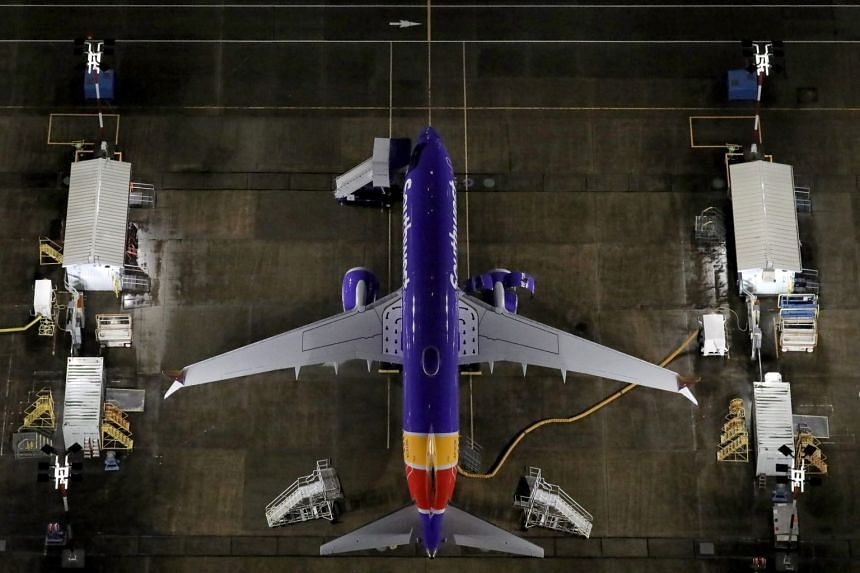 Aerial photos showing Boeing 737 Max planes parked at Boeing Field in Seattle, Washington.