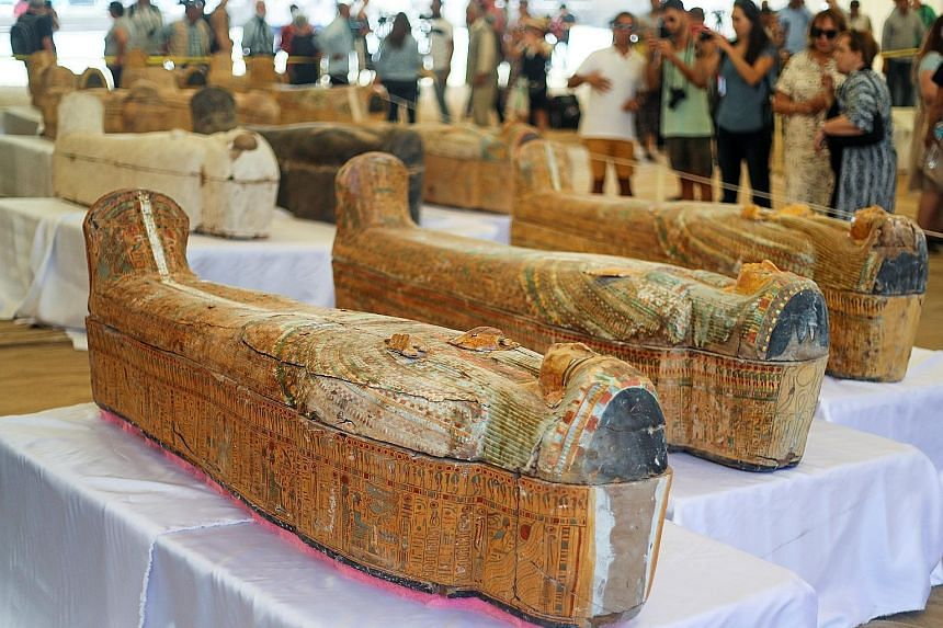 The 30 intricately carved and painted coffins with mummies inside were found in good condition, Egypt's Ministry of Antiquities said.