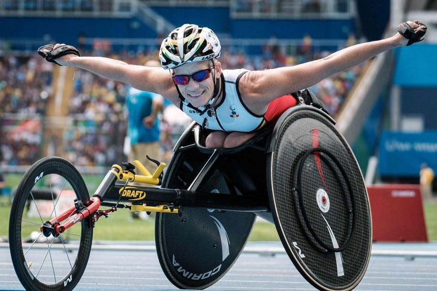 Vervoort reacts after winning the silver medal for the women's 400m (T52) of the Rio 2016 Paralympic Games in 2016.