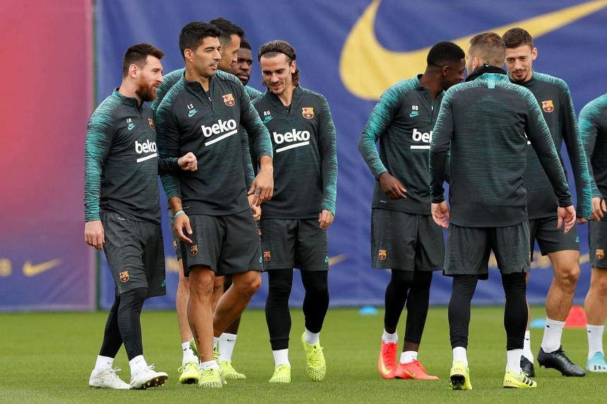 Players of FC Barcelona attending training, on Oct 22, 2019.