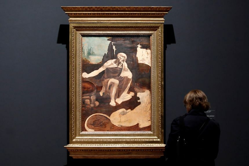 The Leonardo da Vinci painting, Saint Jerome Praying In The Wilderness, on display at the Louvre Museum on Sunday.