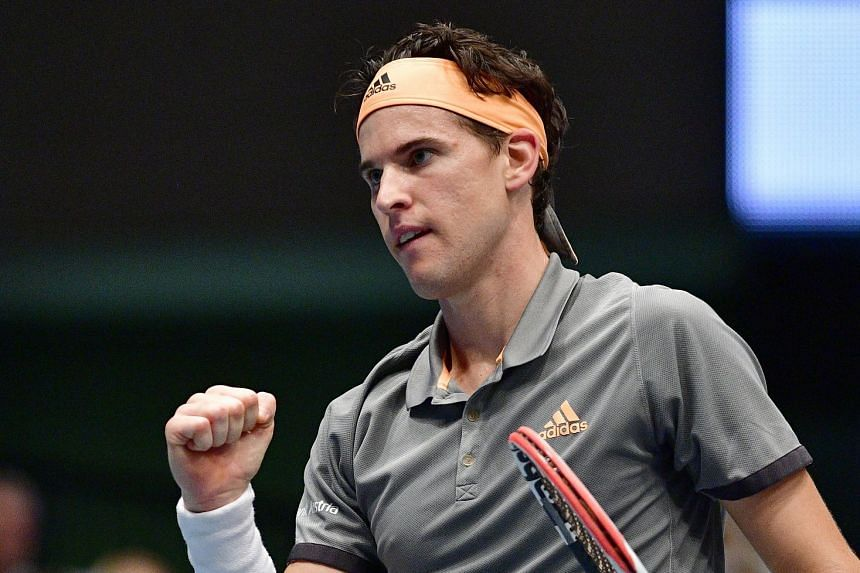 Thiem reacts during his match against France's Jo-Wilfried Tsonga.