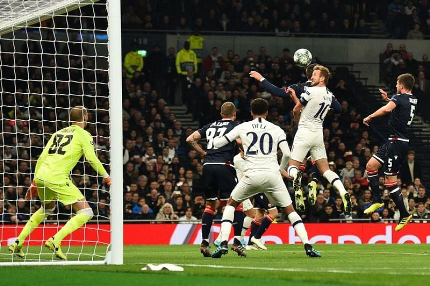 Tottenham Hotspur's Harry Kane (second from right) scores his team's first goal during the UEFA Champions League match between Tottenham Hotspur and Red Star Belgrade on Oct 22, 2019.