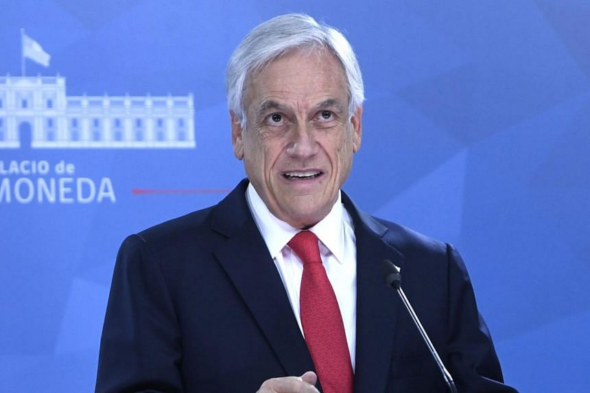 Chilean President Sebastian Pinera speaks to the nation, where he announced a package of social measures in Santiago, on Oct 22, 2019.
