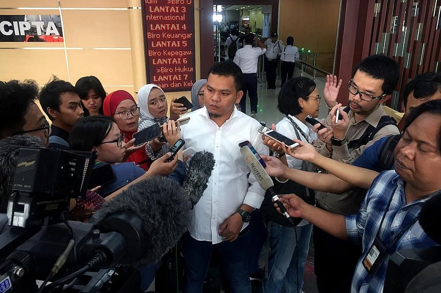 Mr Anton Sahadi, a relative of two victims of the Lion Air 737 Max crash, speaking to reporters yesterday in Jakarta after Indonesian investigators told the families of victims that the plane's mechanical and design issues had contributed to the acci
